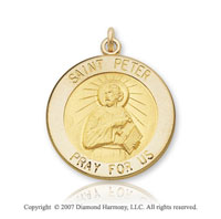 14k Yellow Gold 'Pray for Us' Carved Saint Peter Medal