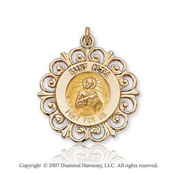 14k Yellow Goldold 'Pray for Us' Ornate Carved St. Peter Medal