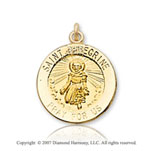 14k Yellow Goldold 'Pray for Us' Carved Saint Peregrine Medal