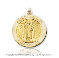 14k Yellow Gold 'Pray for Us' Carved St. Raphael Medal