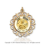 14k Yellow Gold 'Pray for Us' Ornate St. Theresa Medal