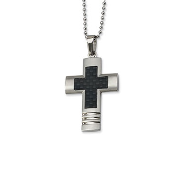 Stainless Steel Black Carbon Fiber Men's Cross Pendant and Chain