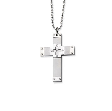 Stainless Steel Men's Cross Pendant and Chain