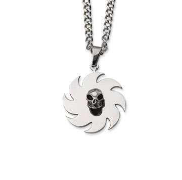 Men's Stainless Steel Saw Blade with Skull Pendant and Chain