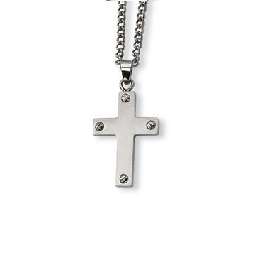 Men's Stainless  Steel Cross Pendant and Chain