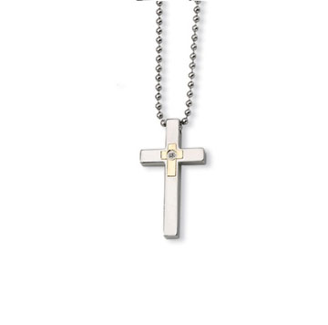 Men's Stainless  Steel Diamond Accent Cross Pendant and Chain