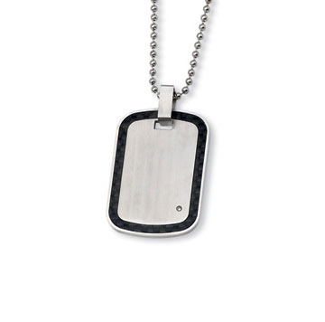Men's Stainless  Steel Black Carbon Fiber Diamond Accent Engraveable Pendant and Chain