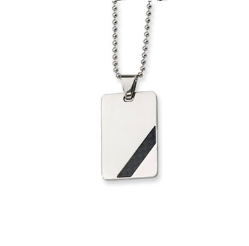 Men's Stainless  Steel with Black Carbon Fiber Engraveable Pendant and Chain