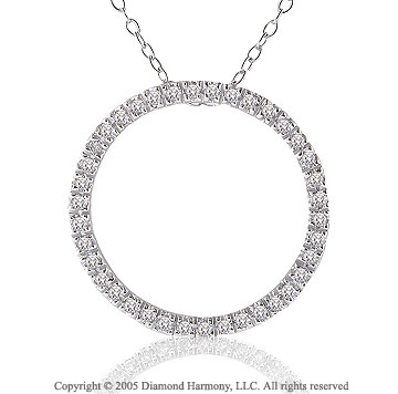 14k White Gold 1/2 Carat Diamond Circle of Life Pendant