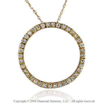 14k Yellow Gold 1/2  Carat Diamond Circle of Life Pendant