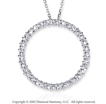 14k White Gold 1.00 Carat Diamond Circle of Life Pendant