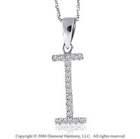 14k White Gold Large Casual Fun Diamond ^I^ Initial Pendant