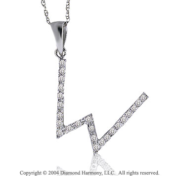 14k White Gold Large Casual Fun Diamond ^W^ Initial Pendant