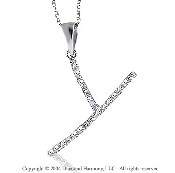 14k White Gold Large Casual Fun Diamond ^Y^ Initial Pendant