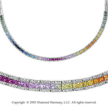 11.00  Carat 14k Diamond Rainbow Sapphire Ruby Princess Necklace
