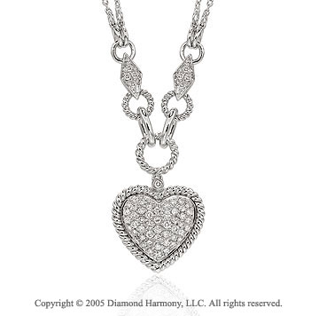 1.00  Carat 14k Diamond Deco Style Heart Necklace