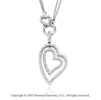 1.00  Carat 14k Diamond Triple Heart Drop Double Strand Pendant Necklace