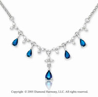 2.10 Carat 14k Diamond Blue Sapphire Pear Chandelier Necklace