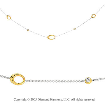 14k Diamond Two Tone Bezel Oval Necklace