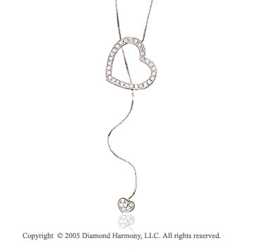 Diamond 14k Double Heart Drop Lariat Look Necklace