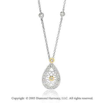 14k Diamond Pave Two Tone Deco Style Heart Filigree Drop Necklace