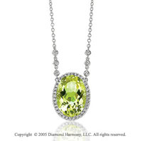 14k White Gold Lime Quartz 13.15 Carat Diamond Necklace