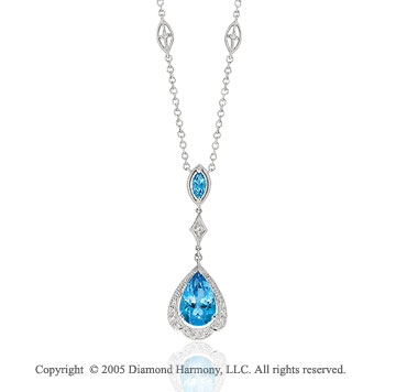 4.00 Carat Diamond and Blue Topaz 14k White Gold Drop Necklace
