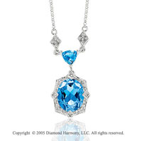14k White Gold Blue Topaz 5.31 Carat Diamond Necklace