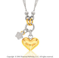 14k Two Tone Gold Star & Heart 1/2 Carat Diamond Necklace
