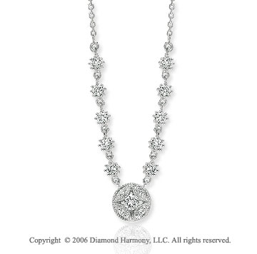 14k White Gold Prong Channel 1/3 Carat Diamond Necklace