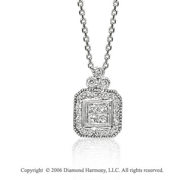 14k White Gold Milgrain Princess 1/3 Carat Diamond Necklace