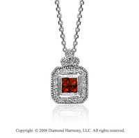 14k White Gold Milgrain Princess Ruby 1/3 Carat Diamond Necklace