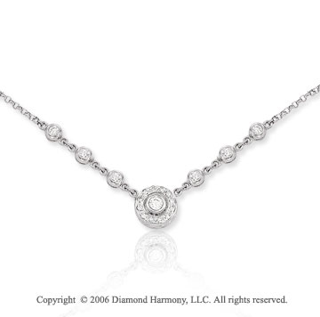 14k White Gold Bezel Solitaire 1/2  Carat Diamond Necklace