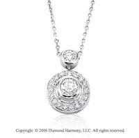 14k White Gold Double Bezel Solitaire 1/2  Carat Diamond Necklace