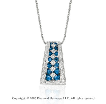 14k White Gold Tapered Sapphire Channel Diamond Necklace