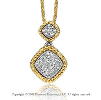 14k Two Tone Gold Milgrain Rope Prong Diamond Necklace