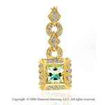 14k Yellow Gold Princess Lime Quartz Diamond Necklace