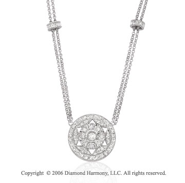 14k White Gold Milgrain Circle 1/2  Carat Diamond Necklace