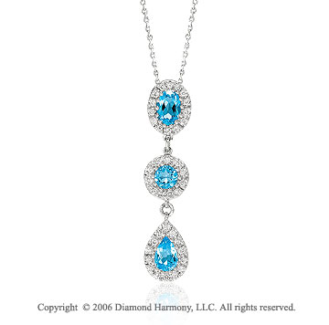 14k White Gold Oval Round Pear Topaz Diamond Necklace