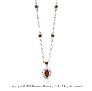 14k White Gold Bezel Round Oval Ruby Diamond Necklace