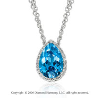 14k White Gold Blue Topaz Teardrop Diamond Necklace
