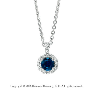 14k White Gold Round Blue Sapphire Diamond Necklace