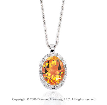 14k White Gold Oval Citrine Prong Diamond Necklace