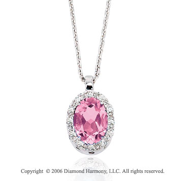 14k White Gold Oval Pink Cizi Prong Diamond Necklace