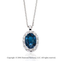 14k White Gold Oval Blue Sapphire Prong Diamond Necklace