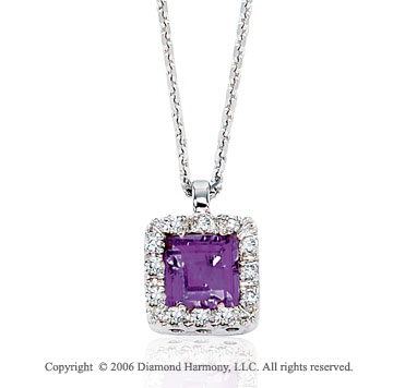 14k White Gold Princess Amethyst Prong Diamond Necklace