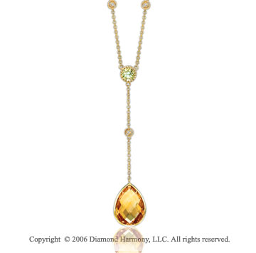 14k White Gold Citrine Lime Quartz Diamond Necklace
