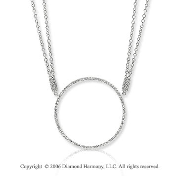 14k White Gold 0.40  Carat Diamond Circle of Life Necklace