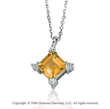 14k White Gold Princess Citrine Prong Diamond Necklace