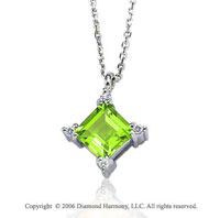 14k White Gold Princess Peridot Prong Diamond Necklace